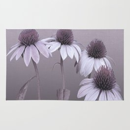Purple Coneflowers and Dragonfly Rug