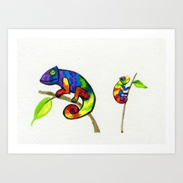 Little Rainbow Chamelons Art Print