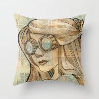hallion Throw Pillows featuring Iron Woman 1 by Karen Hallion Illustrations