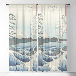 Seascape in Satta, Utagawa Hiroshige  Sheer Curtain