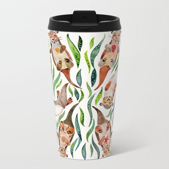 Five Otters – Green Seaweed Metal Travel Mug
