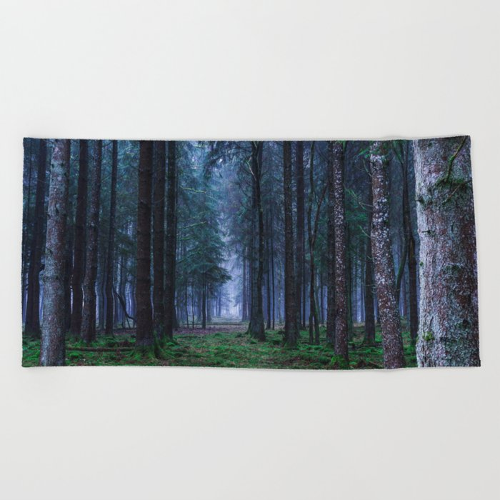 Green Magic Forest - Landscape Nature Photography Beach Towel