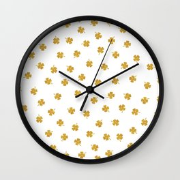 Golden Shamrocks White Background Wall Clock