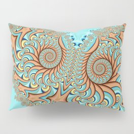 Owl Fractal Turquoise and Orange Pillow Sham