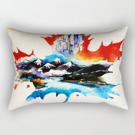 Vintage Canada Maple Leaf Travel Love Watercolor Rectangular Pillow