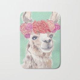 Flower Crown Llama Bath Mat