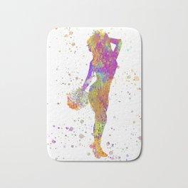 young woman Cheerleader Art Girl Poms Dance in watercolor 05 Bath Mat