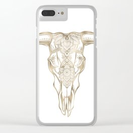 Bull Skull Gold Clear iPhone Case