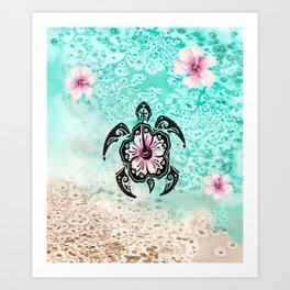 Hibiscus Turtle Kunstdrucke