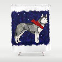 Grey Winter Husky Shower Curtain