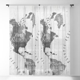 Black and White World Map Sheer Curtain
