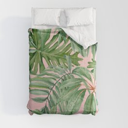 Tropical art,Palmtree,monstera pattern,pink background Comforters