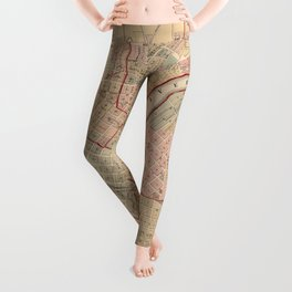 Vintage Map of Rockford IL (1886) Leggings