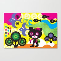 hiking Canvas Prints featuring Hiking bear by Rachel Lee