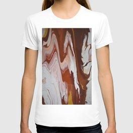 Red Burgundy Fluid Liquid Marble Flow Painting - Lava Flow II T-shirt