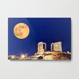 The fullmoon at the temple of Poseidon in Sounio, Greece Metal Print