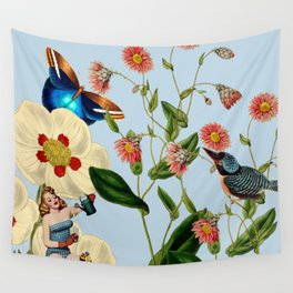 Big Flowers dream  blue Wall Tapestry