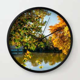 Blue Lake House, Home Sweet Home, Fall Landscape, Lonely Home, Colorful Trees, Autumn Season Wall Clock