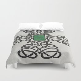 Emerald Celtic Cross Duvet Cover