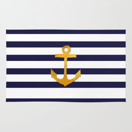 Marine pattern- blue white striped with golden anchor Rug