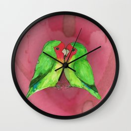 Peach faced lovebirds Wall Clock