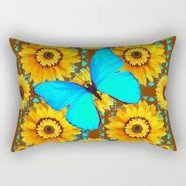 BROWN KANSAS SUNFLOWERS TURQUOISE BUTTERFLIES Rectangular Pillow