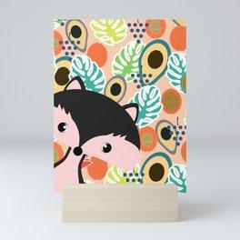 Fox, leaves and tropical fruits Mini Art Print