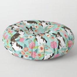 Brindle Cardigan Corgi Florals - cute corgi design, corgi owners will love this mint florals corgi Floor Pillow