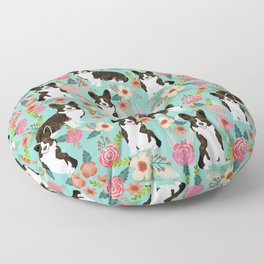 Brindle Cardigan Corgi Florals - cute corgi design, corgi owners will love this mint florals corgi Floor Pillow