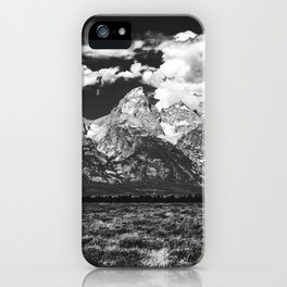 Mountain Summer Escape - Black and White Tetons iPhone Case