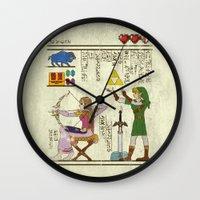 hyrule Wall Clocks featuring hero-glyphics: Hyrule History by Josh Ln