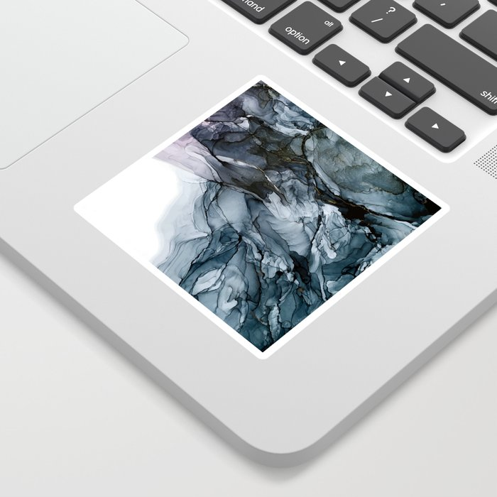 Dark Payne's Grey Flowing Abstract Painting Sticker
