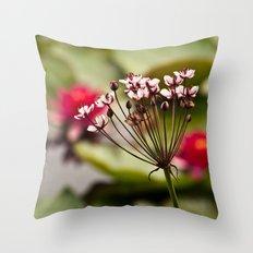 Pink stalk rising Throw Pillow