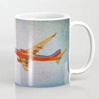 airplane Mugs featuring Airplane by KimberosePhotography