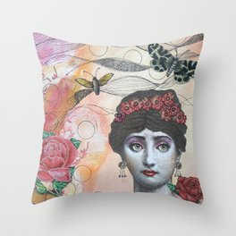 Young lady - Pink Throw Pillow