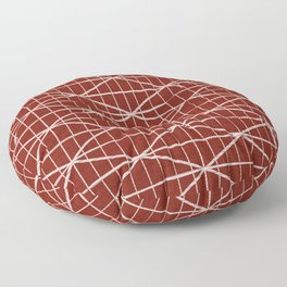 Bright red and white brushed crossed lines pattern Floor Pillow