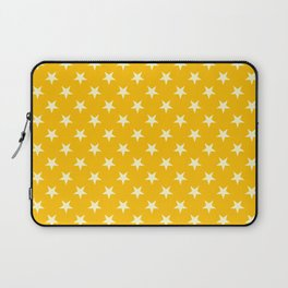 Cream Yellow on Amber Orange Stars Laptop Sleeve