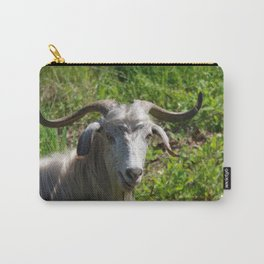 Portrait of A Horned Goat Grazing Carry-All Pouch