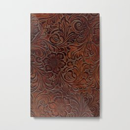 Burnished Rich Brown Tooled Leather Metal Print
