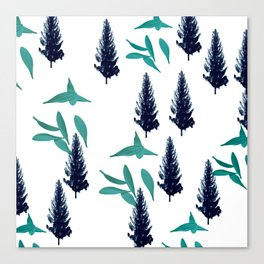 Trees & Leave on a White Crisp Background Canvas Print
