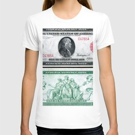 1914 $100 Dollar Bill Federal Reserve Note with a portrait of Benjamin Franklin T-shirt