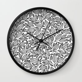 Black and White Botanical Leaf Illustration Wall Clock