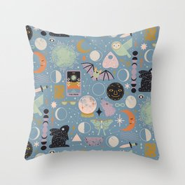 Lunar Pattern: Blue Moon Throw Pillow