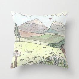 Happy Mountains Throw Pillow