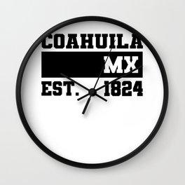 Coahuila de Zaragoza Mexico Est. - 1824 Vintage Retro Distressed Wall Clock