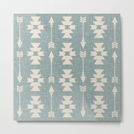Southwestern Arrow Pattern 249 Turquoise and Beige Metal Print
