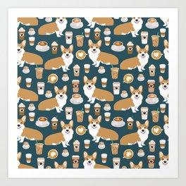 Corgi Coffee print corgi coffee pillow corgi iphone case corgi dog design corgi pattern Art Print