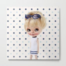 NAVY BLYTHE DOLL MEGAN BY ERREGIRO Metal Print
