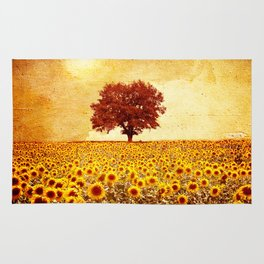 lone tree & sunflowers field Rug