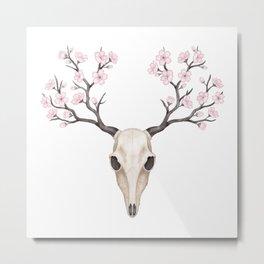 Blooming deer skull Metal Print